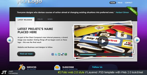 #2 Folio web 2.0 style, PSD theme Creative PSDTemplates