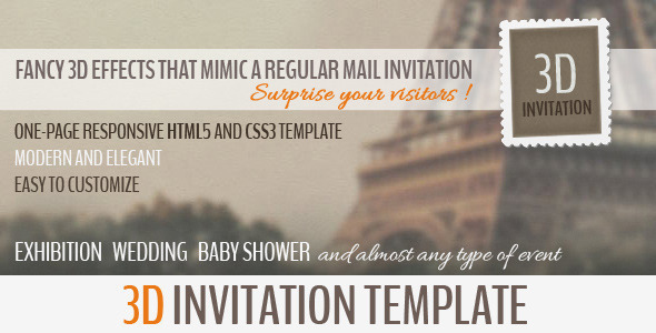 3D Invitation - Multipurpose Invitation Template Entertainment