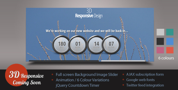 3D Responsive Coming Soon/Under Construction Page Template