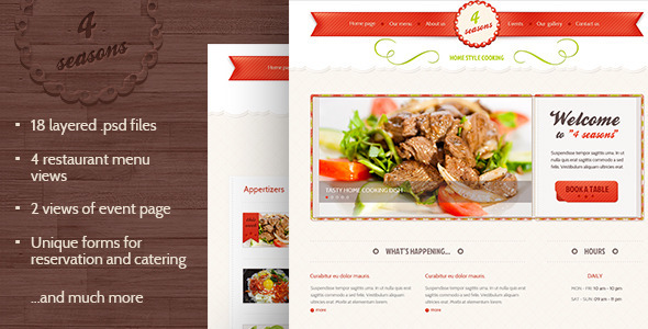 4 Seasons - Restaurant & Cafe PSD Template Entertainment