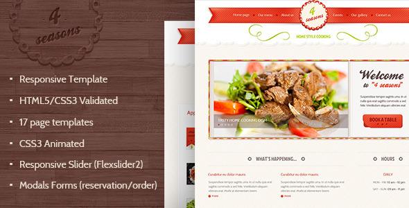 4 Seasons - Restaurant & Cafe HTML5/CSS3 Template Entertainment