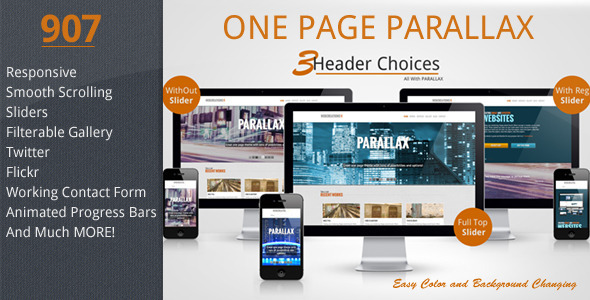 907 - Responsive One Page Parallax Template Creative