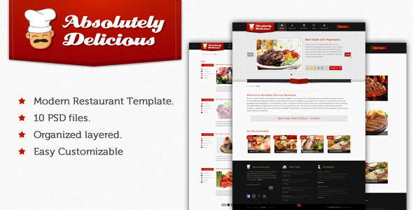 Absolutely Delicious Restaurant PSD Template Retail