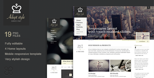 Adept Style Business PSD Template Corporate