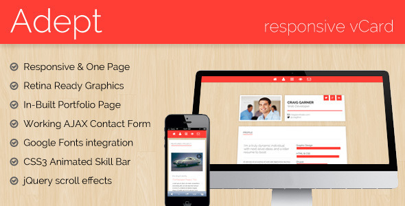 Adept - Responsive vCard Template Personal