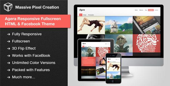 Agera Responsive Fullscreen HTML / Facebook Theme Template