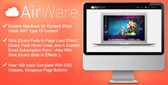 AirWare Mac App Website Template LandingPages Landing Page