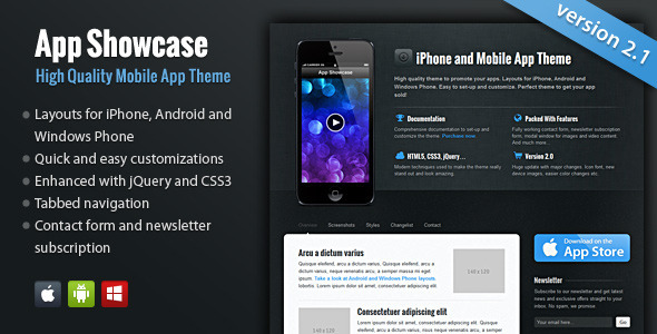 App Showcase - iPhone and Mobile App LandingPages Landing Page