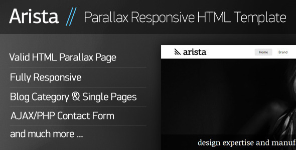 Arista - Parallax Responsive HTML Template Retail