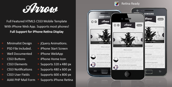 Arrow Mobile Retina | HTML5 & CSS3 And iWebApp Template