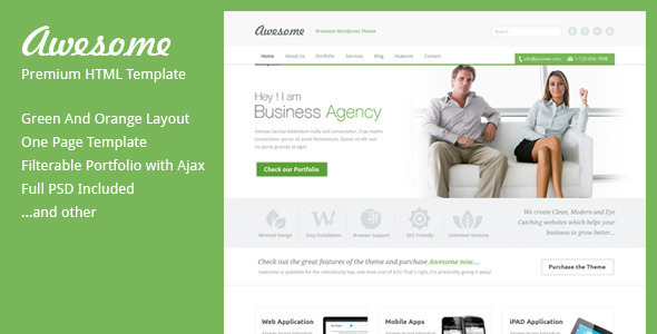Awesome - One Page Business Template Corporate