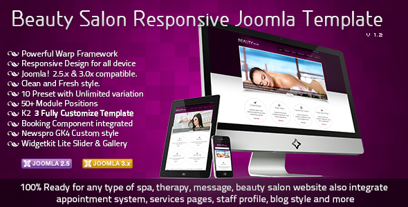 Beauty Salon Responsive Joomla Template Retail