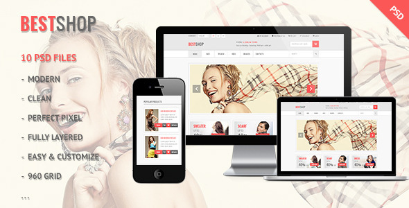 Bestshop - Retail, Shopping, eCommerce PSD Retail