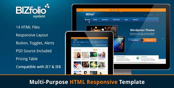 BizFolio Responsive Unique HTML Theme Template Creative