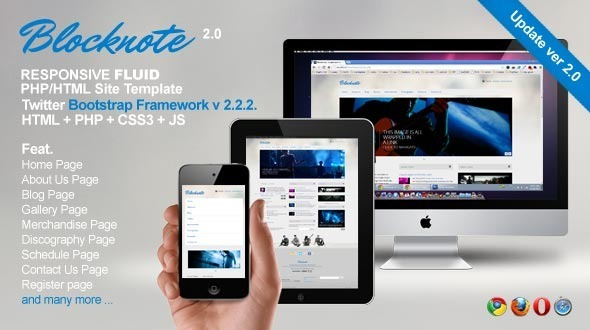 Blocknote - Responsive Website for Band/Musician Template