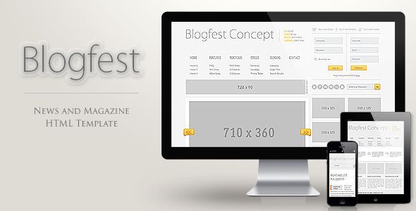 Blogfest - Blog, News and Magazine HTML template Entertainment