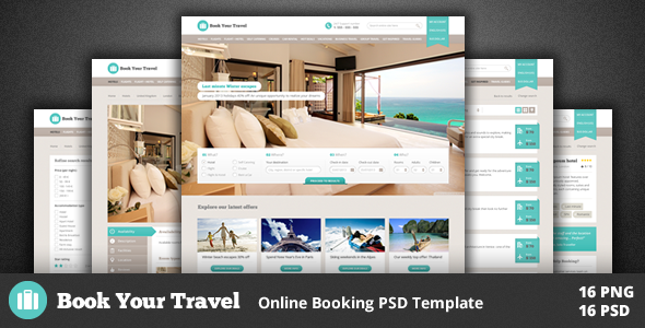 Book Your Travel - Online Booking Template PSD Retail