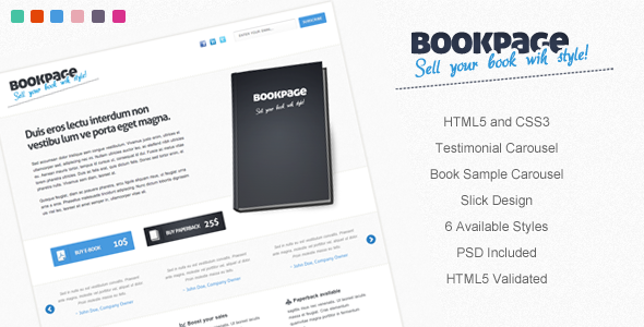 BookPage - Sell your books with Style! LandingPages Landing Page
