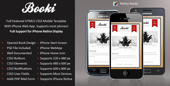 Booki Mobile Retina | HTML5 & CSS3 And iWebApp Template