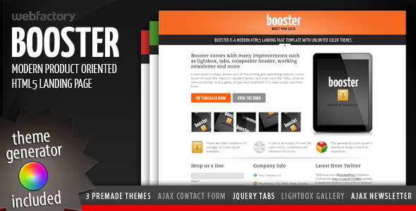 Booster - Product Focused HTML5 Landing Page LandingPages Landing Page