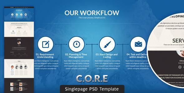 CORE - Multipurpose Single Page PSD Template Creative