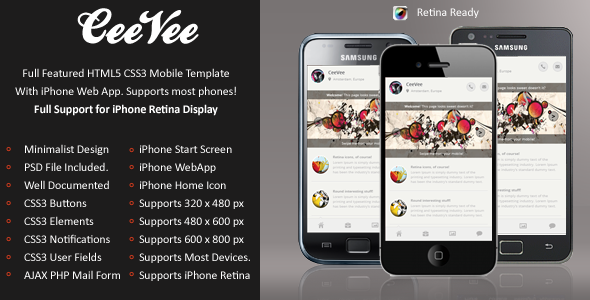 CeeVee Mobile Retina | HTML5 & CSS3 And iWebApp Template