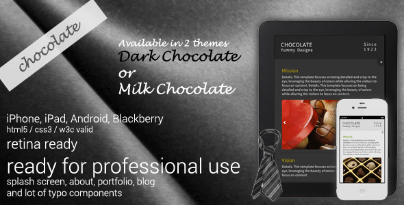Chocolate Retina-Ready Mobile Template Mobile