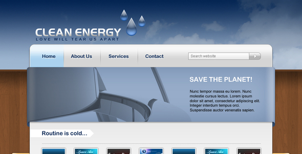 Clean Energy business web template Corporate PSDTemplates
