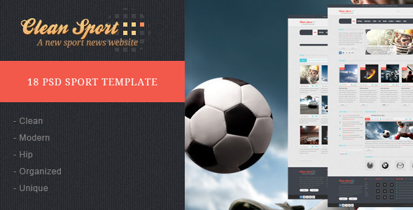 Clean Sport - 18 PSD Sport Template Entertainment