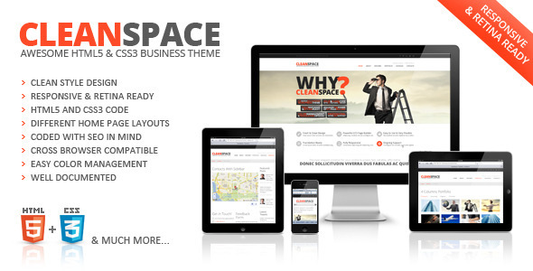 CleanSpace Retina Ready Web Template Corporate