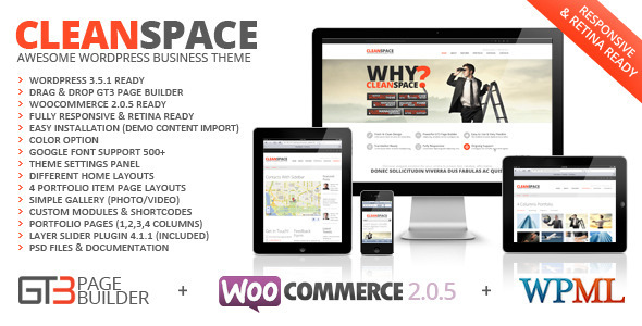 CleanSpace Retina Ready Business WP Theme WordPress Corporate