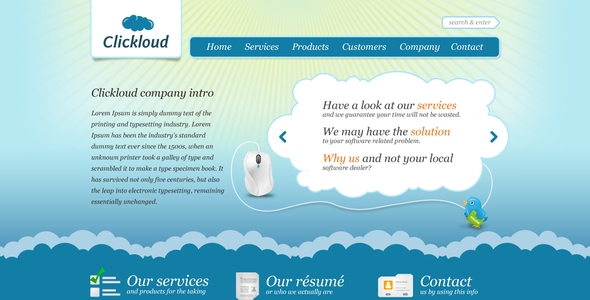 Clickloud Web 2.0 Business Template Technology PSDTemplates