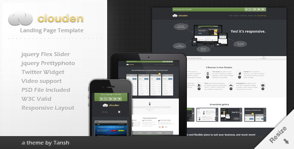 Clouden Responsive Landing /One Page Template LandingPages Landing Page
