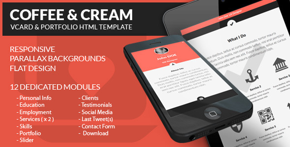 Coffee & Cream | VCARD and Portfolio HTML Template Personal