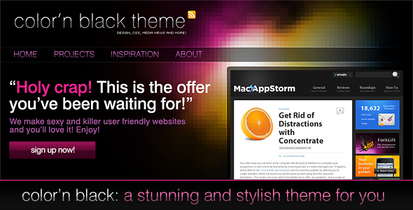Color'n Black theme Technology PSDTemplates