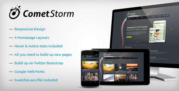 CometStorm - Multi Purpose PSD Template Corporate