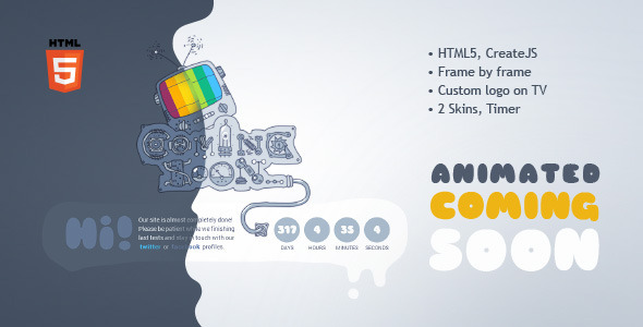Coming Soon Machine - Animated HTML5 Template Specialty Page