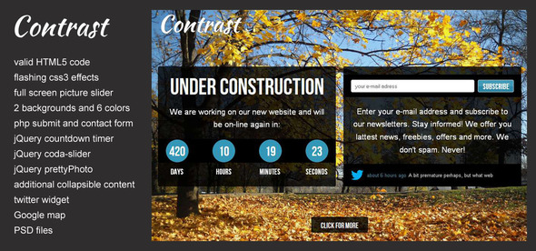 Contrast - Under Construction Website Template Specialty Page