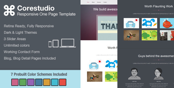 CoreStudio - Responsive One Page HTML5 Template Creative