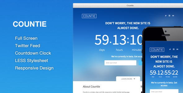Countie: Fullscreen, Responsive Countdown Landing Template