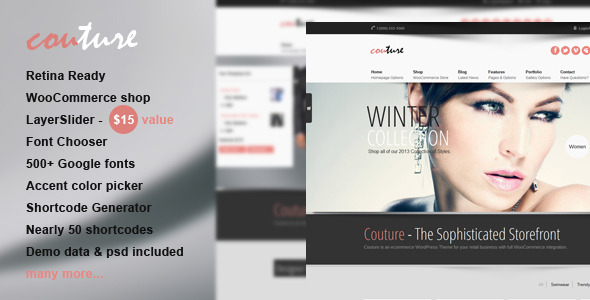 Couture WordPress WooCommerce Theme Retail