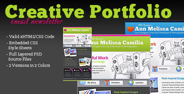 Creative Portfolio HTML Email Template EmailTemplates Email Template