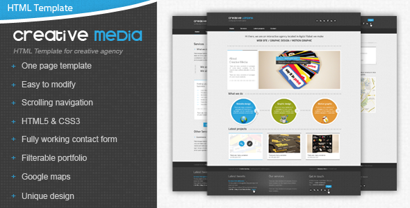 Creative Media One Page Html Creative Agency Template Creative