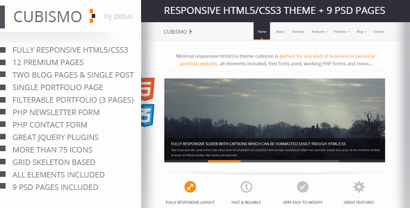 Cubismo - Minimal Responsive HTML/CSS Theme Template Creative