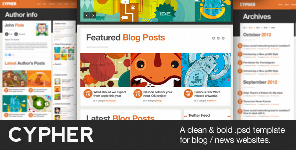 Cypher - A bold Blog / News .PSD theme Miscellaneous