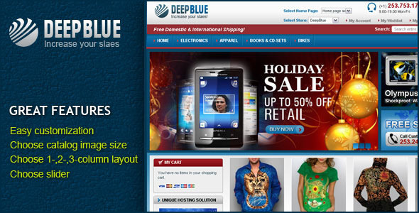 DeepBlue Shopping Magento theme
