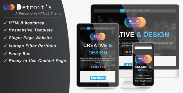 Detroit - Bootstrap Single Page Website Template Creative
