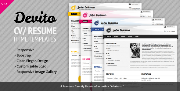 Devito Resume Responsive Template Specialty Page