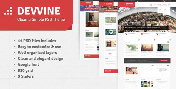 Devvine - Modern and Clean PSD Theme Corporate