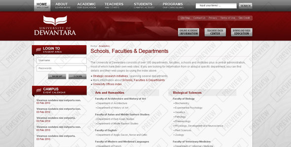 Dewantara University Corporate PSDTemplates